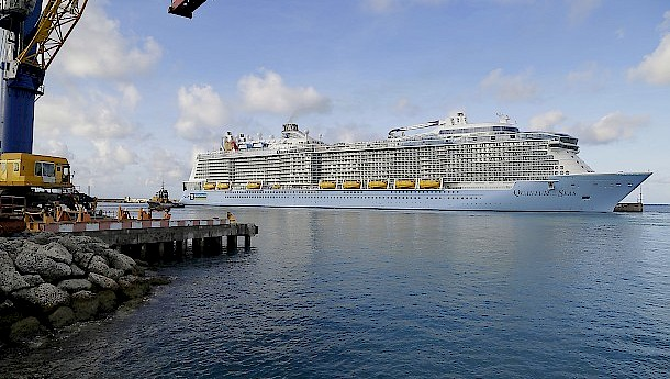 A cruise ship calls at the Bridgetown port. Photo: Barbados Port Inc