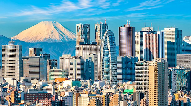 Mount Fuji watches over the Tokyo skyline.