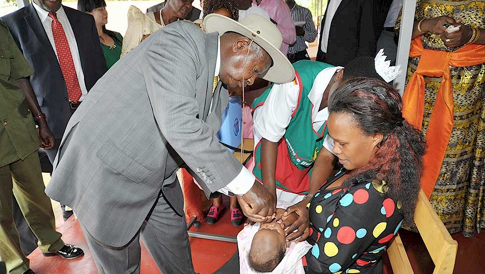 President Museveni visits a mother and her baby. Maternal and neonatal health indicators are improving in the country.